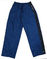 Vintage Nike Blue Block Spell Out Swoosh Unlined Windbreaker Track Pants Mens XL
