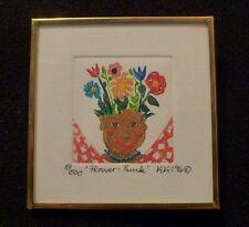 "Signed KIKI Suarez Etching ""Flower Punk"" 1996 500 ed.  SO MUCH FUN!"