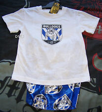 Canterbury Bulldogs NRL Boys White Blue Cotton Satin Pyjama Set Size 5 Imperfect