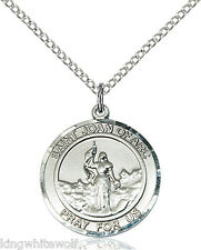 Bliss Mfg St Joan of Arc Patron Saint Sterling Silver Medal Pendant Necklace