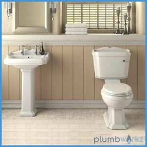 Toilet and Sink Basin Set Suite Cloakroom Traditional Tap Soft Close Seat & Taps
