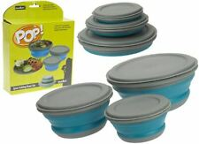 Summit Pop 3 Piece Bowl Set Blue and Grey Collapsible Travel Storage Camping