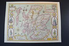 Vintage decorative sheet map of Scotland Orkney John Speede 1610