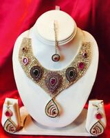 Bollywood Indian Bridal Necklace Earrings Tikka Jewellery Reddish Pink Green H58