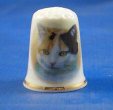 Birchcroft China Thimble --  Tortoiseshell Cat with Free Dome Gift Box