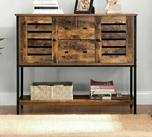 Rustic Industrial Cupboard Console Table Vintage Hallway Storage Cabinet Side