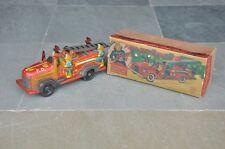 Vintage 'K' Trademark Five Man Smoky Joe Boxed Litho Fire Truck Tin Toy, Japan