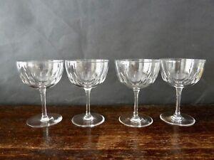 4x Antique Victorian/Edwardian Lens Cut Crystal Champagne Glasses
