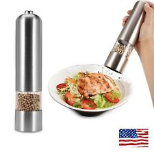 US Ship Electric Pepper Salt Grinder Mill Muller Tool Battery Operated Light
