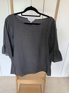 As New - VERONIKA MAINE Size 16 Black & Grey Striped