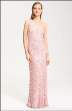NEW ADRIANNA PAPELL One Shoulder Beaded DRESS GOWN SIZE 4 $298 PINK NORDSTROM