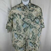 Roundtree & Yorke Mens Aloha Shirt Beige Hawaiian Buildings Short Sleeves Silk L