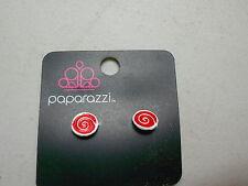 Paparazzi Kids Earrings (new) SWIRLS - RED & WHITE