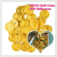 50PCS Plastic Skull Pirate Gold Coins Boys Favours Halloween Party Decorations