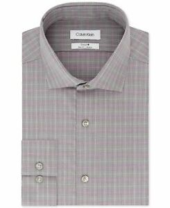 Calvin Klein Mens Dress Shirt Gray Size 15 1/2 Plaid Slim Fit Non-Iron $79 #272