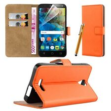 Wallet Flip Book Stand View Card Case Cover for Alcatel Pop 4 Plus (5.5) Orange