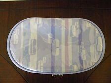 Vtg Clinique C Pattern Make Up Bag Lavender Purple Waterproof Cosmetic Case Oval