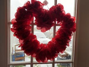 Red Roses Heart , Tinsel & Cardboard Valentine Wreath For Front Door/Wall