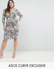 BNWT ~ ASOS CURVE ~ Midi Dress in Animal Print with Cut Away Neck ~ UK 22