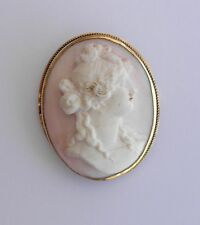 Lovely Pink & White Shell CAMEO in 14K Yellow Gold Frame~~Victorian Era