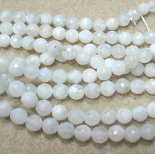 """Natural White Moonstone 6mm Faceted Round Beads 15"""" Black Tourmaline Inclusions"""