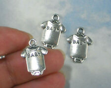 BuLk 50 Baby Shirt Charms Antiqued Silver Tone Slim for Invitations #P1943 -50
