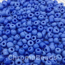 50g glass seed beads - Mid Blue Opaque - approx 4mm (size 6/0)