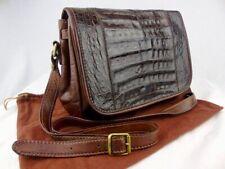 THE BRIDGE elegant brown crocodile leather vintage shoulder/crossbody  bag