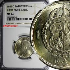SWEDEN Gustaf V Silver 1942 G 1 Krona NGC MS62 ARMS DIVIDE VALUE WWII  KM# 814