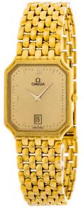 New Omega De Ville 25MM 18K Yellow Gold Quartz Men's Watch 7740.10.00