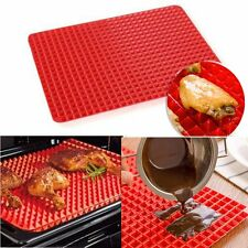 2PCS Pyramid Pan Fat Reducing Non Stick Silicone Cooking Mat Oven Baking Tray