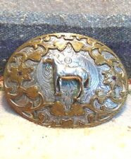 Vintage Standing Horse German Silver / Bronze Belt Buckle Very Good Condition