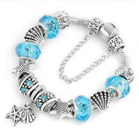 Women's Silver Plated Starfish&Scallop European Crystal Charm Bracelet Bangle