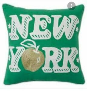 """Pottery Barn Teen jet Setter Pillow New York green cover NWT 18"""" SQUARE Crewel"""