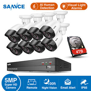 SANNCE 8CH 5in1 DVR Video 5MP AI Human Detection Warm Light CCTV Camera System