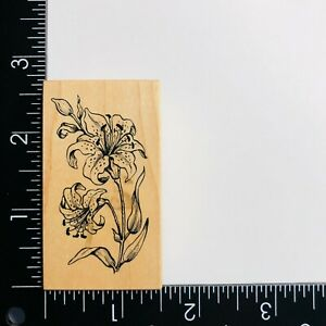 PSX Designs Lily Flower D076 Wood Mounted Rubber Stamp