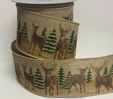 1m x Hessian Reindeer Scene Wide Wired Ribbon Christmas Cake Gisela Graham