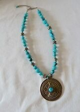 turquoise blue & antiqued silver metal disc pendant glass beaded necklace