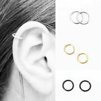 Magnetic Seamless Steel Nose Ring Piercing Hoop Ear Cartilage Fake Earrings Clip