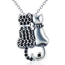 925 Sterling Silber Katze Katzen schwarz weiß Kristall Anhänger Kette Halskette