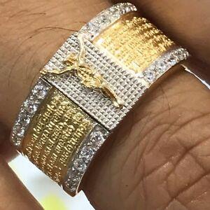 14k SOLID REAL GOLD Jesus Band ring bible manmade diamond size 10 8 9 11 12