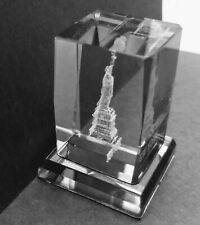 "3D Laser Etched 2"" New York Statue Of Liberty Crystal Glass Souvenir/Gift/Decor"