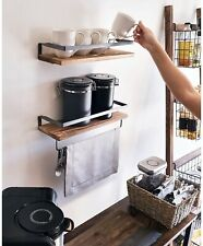 Peter's Goods Rustic Floating Wall Shelves with Rails - Decorative Storage