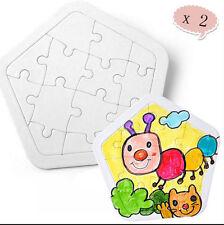 2pcs DIY Blank Jigsaw Puzzles Self-Paint Paper Kids Crafts Creativity Toy