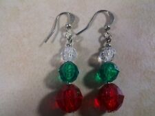 Beaded Earrings Fashion Jewelry Red Green Dangle Acrylic 6mm Silver Plated Hook