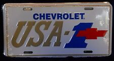 CHEVROLET USA-1 GOLD & WHITE W/ RED BOWTIE ALUM LICENSE PLATE  MADE USA CHEVY SS