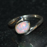 Ethiopian Opal 925 Sterling Silver Band Ring Handmade Jewelry kd8754