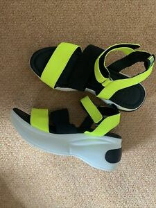 Amazing Platform Rave Party Neon Green Yellow sandals Shoes Hold uk 5