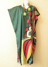 KD107 Green Floral Women Kaftan Caftan Batwing Tunic Dolman Maxi Dress M to XL