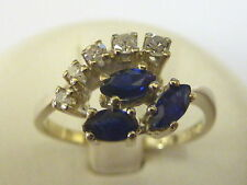 14 Carat Cluster Sapphire Yellow Gold Fine Rings